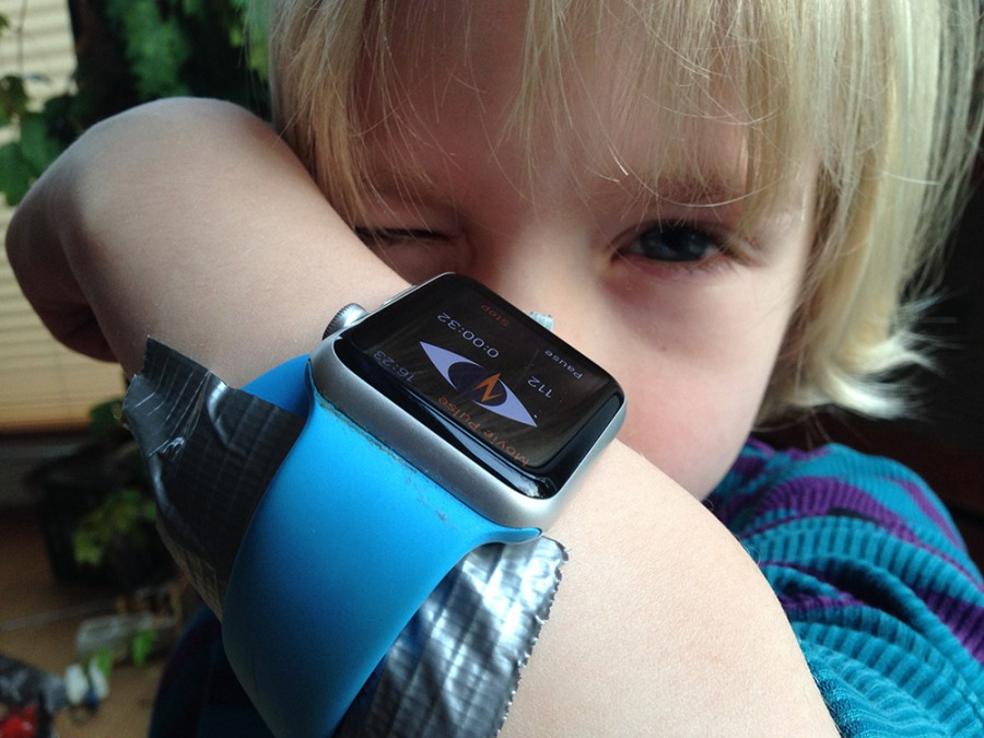 My 6 year old son got my Apple Watch taped at his arm