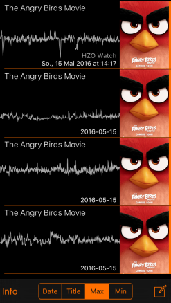 All four records stored in the Movie Pulse app